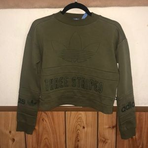 green adidas pull over sweater